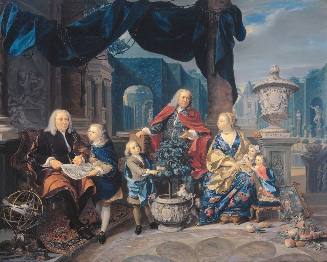David van Mollem (1670-1746) and Jacob Sydervelt with his family 1740